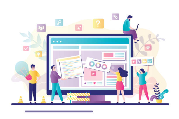 Business team working together on web page design. People building website interface on computer. Web development, teamwork, new internet project. Characters in trendy style. Flat vector illustration